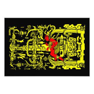 Foto Versión amarilla y roja del astronauta antiguo