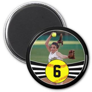 Foto y imán del softball de Fastpitch del número