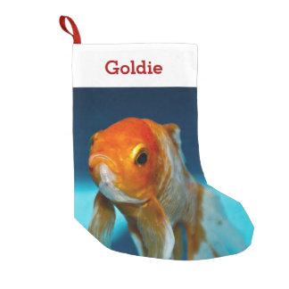 Foto y nombre del amante de los pescados del calcetín navideño pequeño