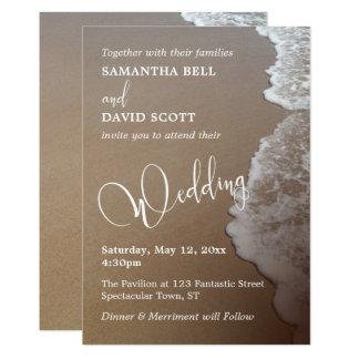 Foto y tipografía de la arena y de la playa de la invitación 12,7 x 17,8 cm