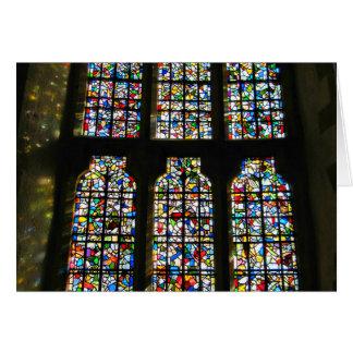 Fotografía de Barcelona del vitral de Sagrada Tarjeta De Felicitación