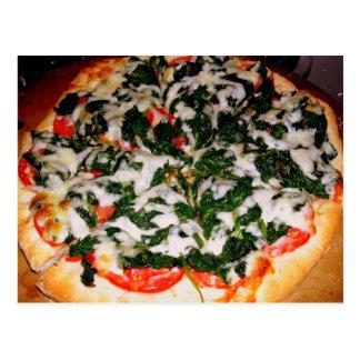Fotografía de la comida de la pizza de la espinaca postal