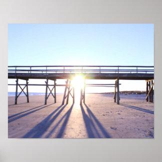 Fotografía de la playa de la puesta del sol póster