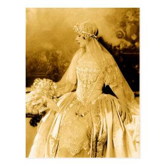 Fotografía de oro de la novia del vintage postal