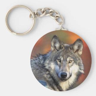 Fotografía del lobo llavero redondo tipo chapa