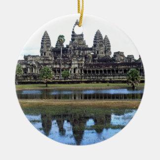 Fotografía del viaje del templo de Angkor Wat Adorno Navideño Redondo De Cerámica