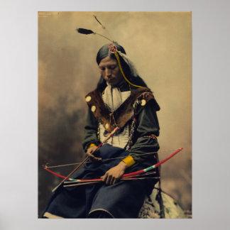 Fotografía del vintage del hombre cherokee con el póster