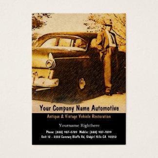 Fotografía del vintage del hombre y del coche tarjeta de visita