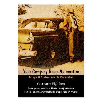 Fotografía del vintage del hombre y del coche tarjetas de visita grandes