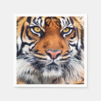 Fotografía masculina de la pintura del tigre servilletas desechables