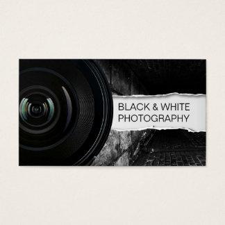 Fotografía negra del fotógrafo y blanca elegante tarjeta de negocios