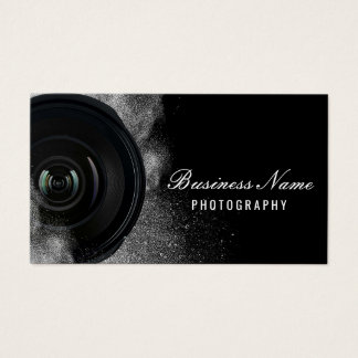 Fotografía negra y blanca de la cámara del tarjeta de negocios