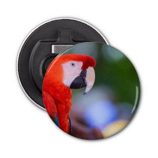 Fotografía roja del loro abrebotellas redondo