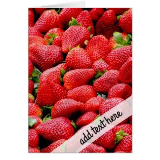 fotografía rosada oscura deliciosa de las fresas tarjeta de felicitación