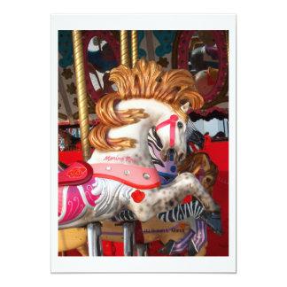 Fotografía rosada y blanca del caballo del invitación 12,7 x 17,8 cm