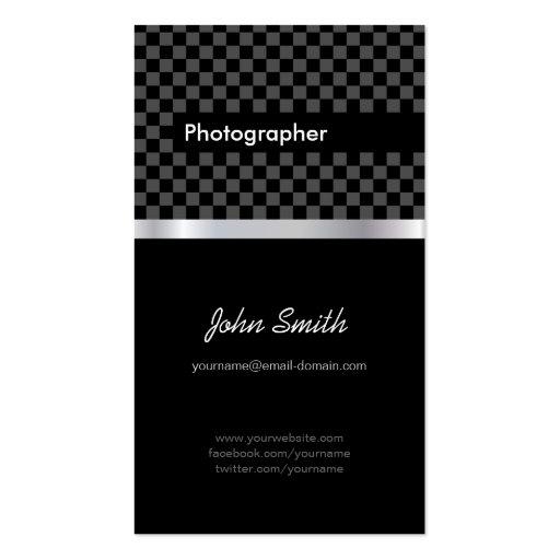 Fotógrafo - a cuadros negro elegante plantillas de tarjeta de negocio