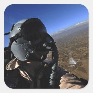 Fotógrafo del combate aéreo de la fuerza aérea de pegatina cuadrada