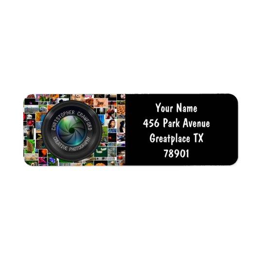 Fotógrafo y lente de cámara del negocio de la etiqueta de remitente