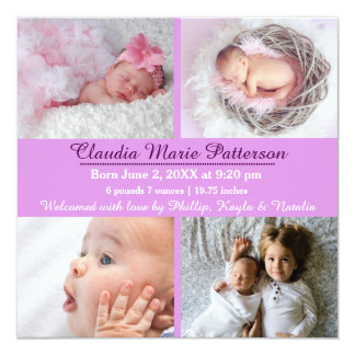 Fotos de la púrpura 4 - invitación del nacimiento