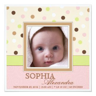 Fotos del nacimiento dos de la niña en rosa + invitación 13,3 cm x 13,3cm