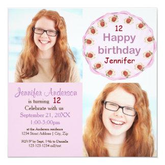 Fotos púrpuras de la torta 2 - invitación del