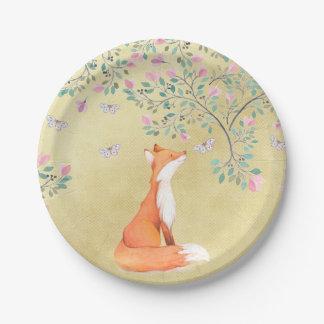 Fox con las mariposas y las flores rosadas plato de papel