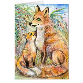Fox de la mamá y del bebé tarjeta pequeña