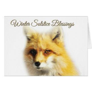 Fox de las bendiciones del solsticio de invierno y tarjeta de felicitación