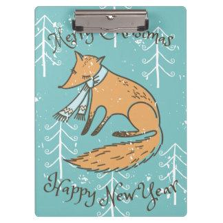 Fox del día de fiesta de las Felices Navidad Carpeta De Pinza