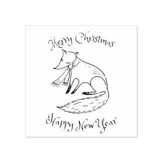 Fox del día de fiesta de las Felices Navidad Sello De Caucho