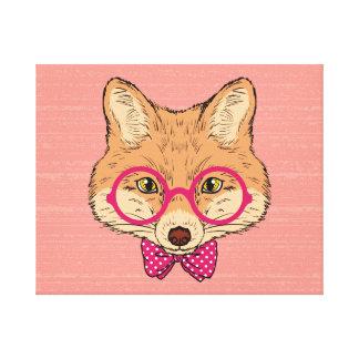 Fox del inconformista con el arco rosado de lujo impresión en lienzo