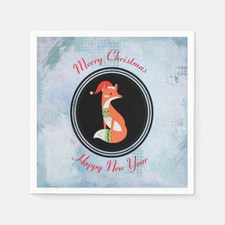 Fox del naranja en Felices Navidad del gorra rojo Servilletas Desechables
