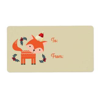 Fox del naranja en regalo retro lindo del navidad etiqueta de envío