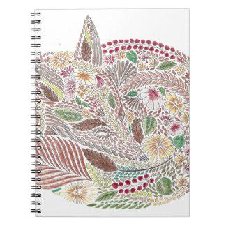 Fox en las hojas libreta espiral