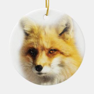 Fox hermoso y ornamento del solsticio de invierno adorno navideño redondo de cerámica