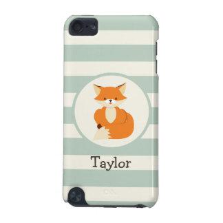Fox lindo del arbolado en rayas de la verde salvia carcasa para iPod touch 5G