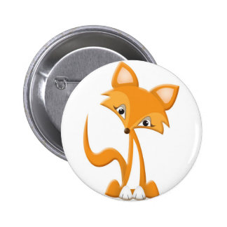 Fox lindo del dibujo animado chapa redonda de 5 cm