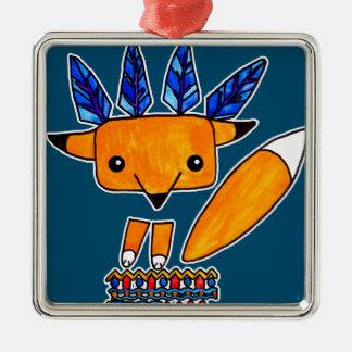 Fox lindo del ejemplo de la acuarela. Animal Adorno Navideño Cuadrado De Metal