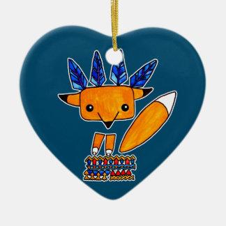 Fox lindo del ejemplo de la acuarela. Animal Adorno Navideño De Cerámica En Forma De Corazón
