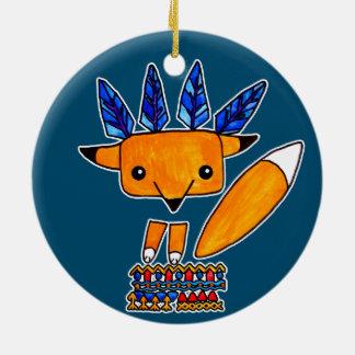 Fox lindo del ejemplo de la acuarela. Animal Adorno Navideño Redondo De Cerámica