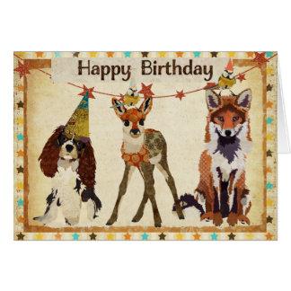 Fox, perro, cervatillo, y pequeña tarjeta de