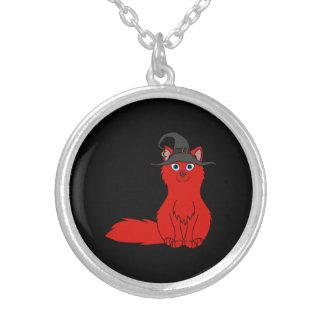 Fox rojo con el gorra de la bruja de Halloween Colgante Redondo