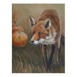Fox rojo con la postal del arte de las calabazas