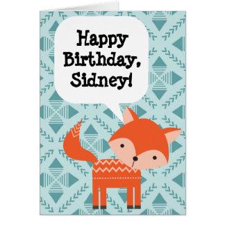 Fox rojo del cumpleaños de los niños tarjeta de felicitación