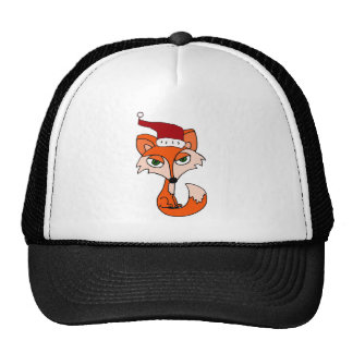 Fox rojo divertido en el gorra de Santa