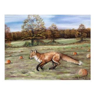 Fox rojo en la pintura en colores pastel del arte  tarjetas postales