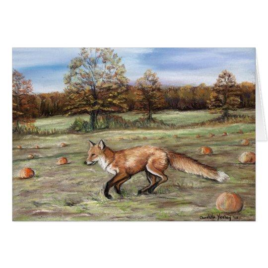 Fox rojo en tarjeta de nota del arte del remiendo