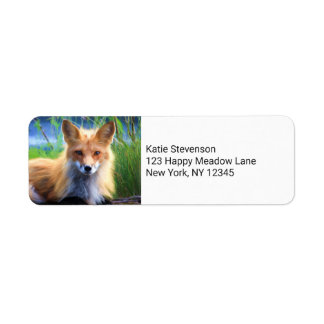 Fox rojo que pone en la imagen de la fauna de la etiqueta de remite