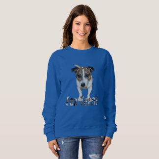 Fox terrier con el logotipo, camiseta del azul de