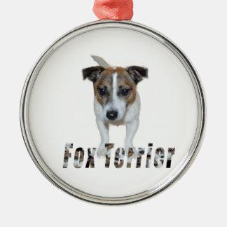 Fox terrier con el logotipo, ornamento de metal
